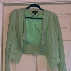 Green waist length blazer